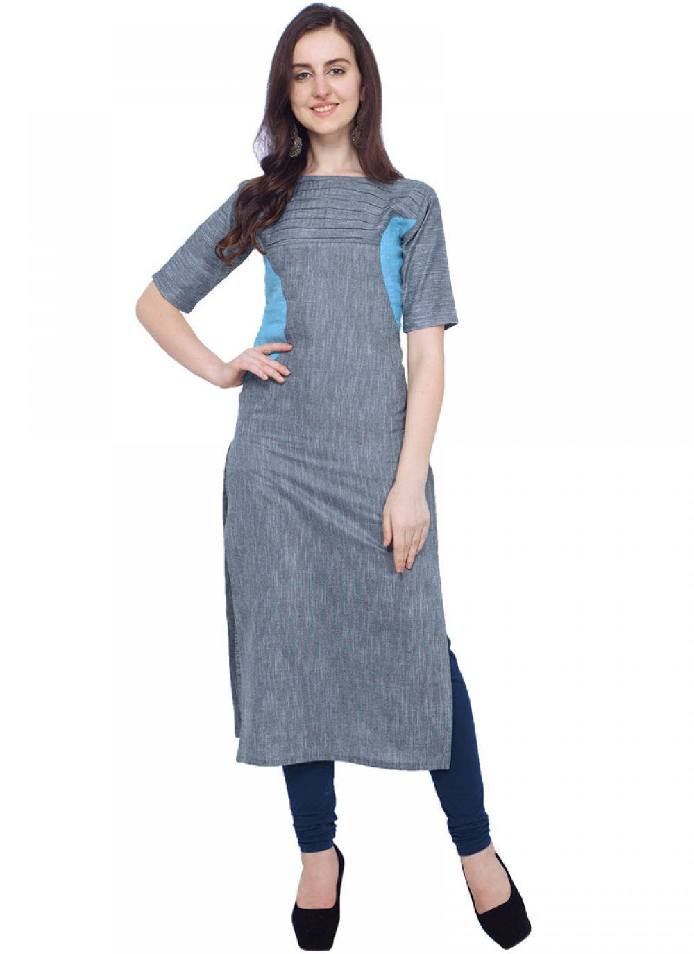 Khadi Plain Casual Kurti in Grey
