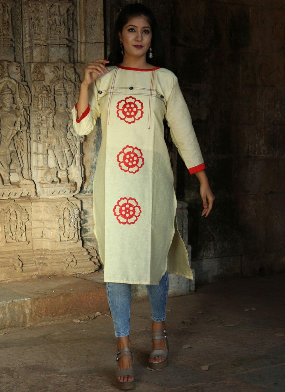 Khadi Print Party Wear Kurti in White