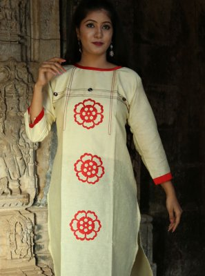 Khadi Print Party Wear Kurti in White