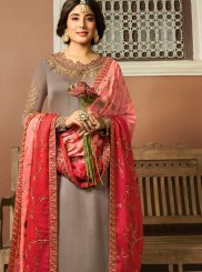 Kritika Kamra Beige Georgette Satin Embroidered Churidar Designer Suit