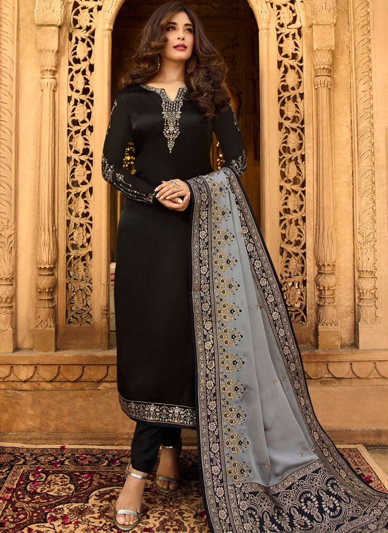 Kritika Kamra Black Resham Churidar Designer Suit