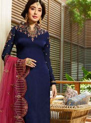 Kritika Kamra Blue Georgette Satin Churidar Designer Suit