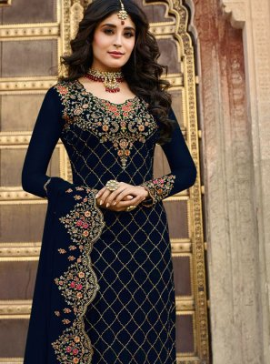 Kritika Kamra Embroidered Navy Blue Churidar Designer Suit