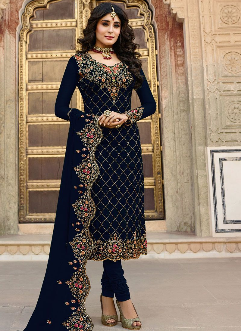 Kritika Kamra Embroidered Navy Blue Churidar Designer Suit