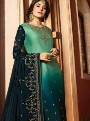Kritika Kamra Georgette Satin Green Resham Churidar Designer Suit