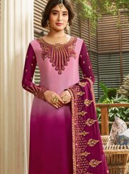 Kritika Kamra Georgette Satin Pink Resham Churidar Designer Suit