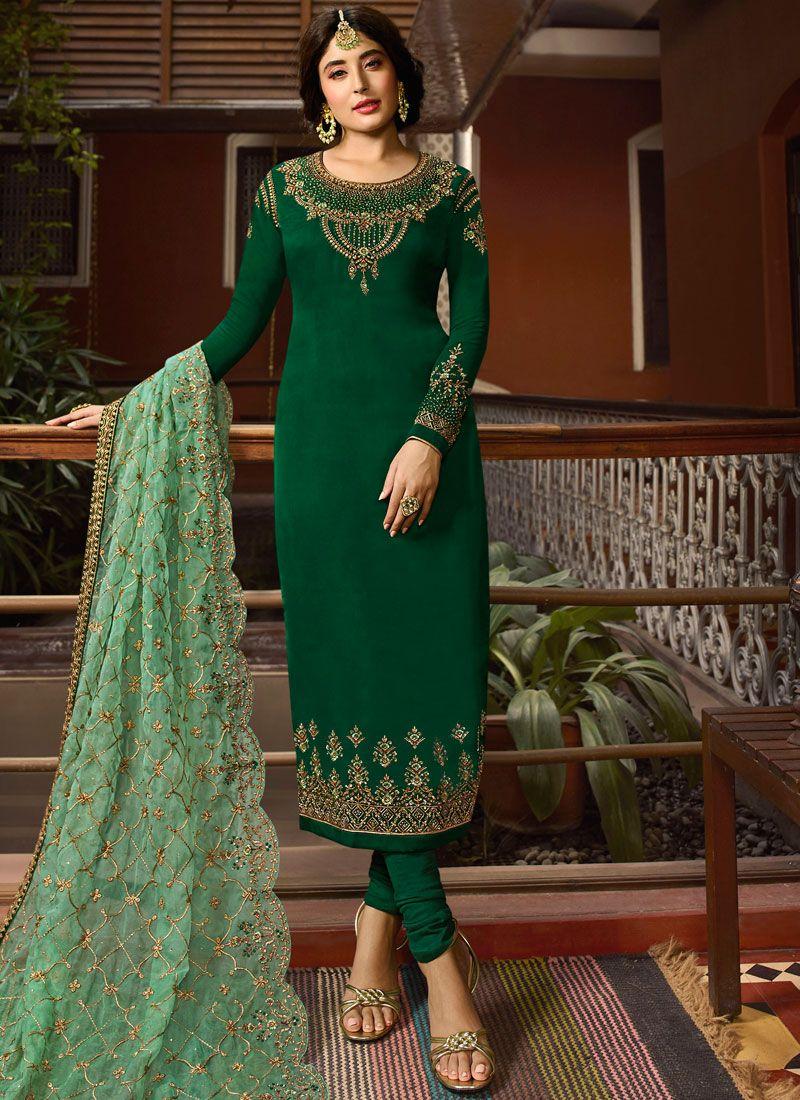 Kritika Kamra Green Festival Churidar Designer Suit