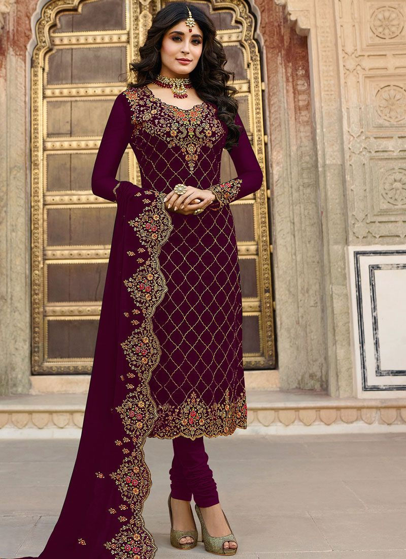 Kritika Kamra Maroon Churidar Designer Suit