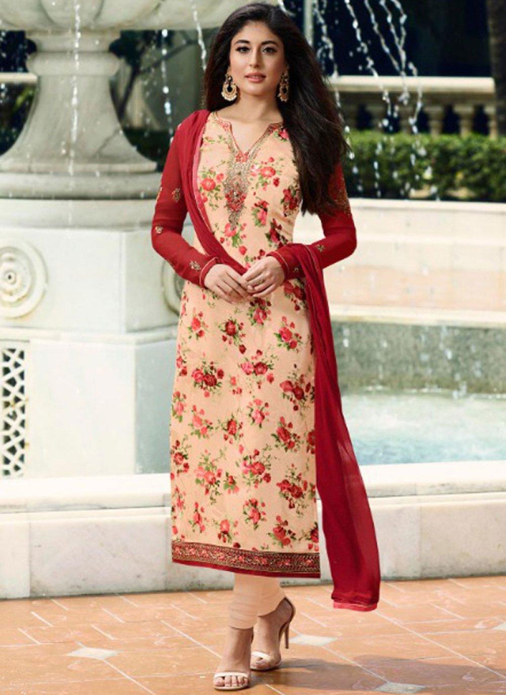 Kritika Kamra Peach Designer Straight Suit