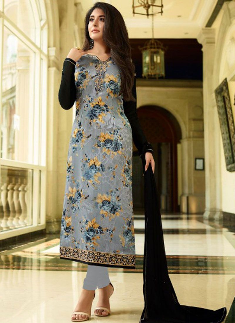 Kritika Kamra Print Grey Brasso Designer Straight Suit