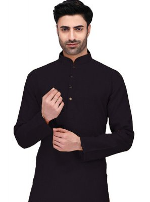 Kurta Machine Embroidery  Cotton in Black