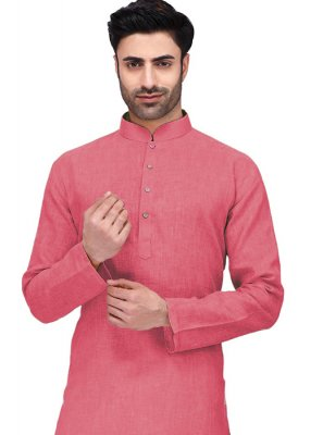 Kurta Machine Embroidery  Cotton in Peach