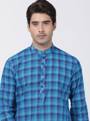 Kurta Payjama With Jacket Embroidered Cotton Silk in Blue