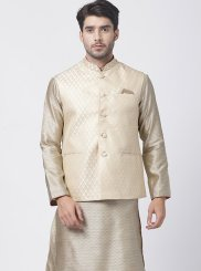 Kurta Payjama With Jacket Plain Blended Cotton in Beige