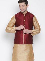 Kurta Payjama With Jacket Plain Cotton in Gold