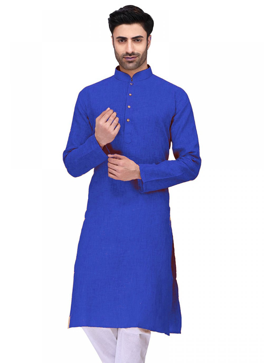 Kurta Plain Cotton in Blue