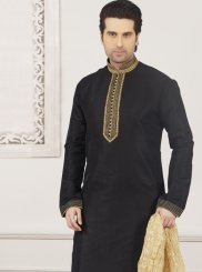 Kurta Pyjama Embroidered Art Banarasi Silk in Black