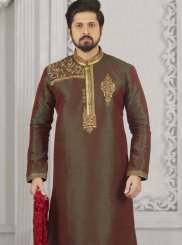 Kurta Pyjama Embroidered Art Banarasi Silk in Green and Red