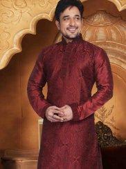 Kurta Pyjama Embroidered Dupion Silk in Maroon