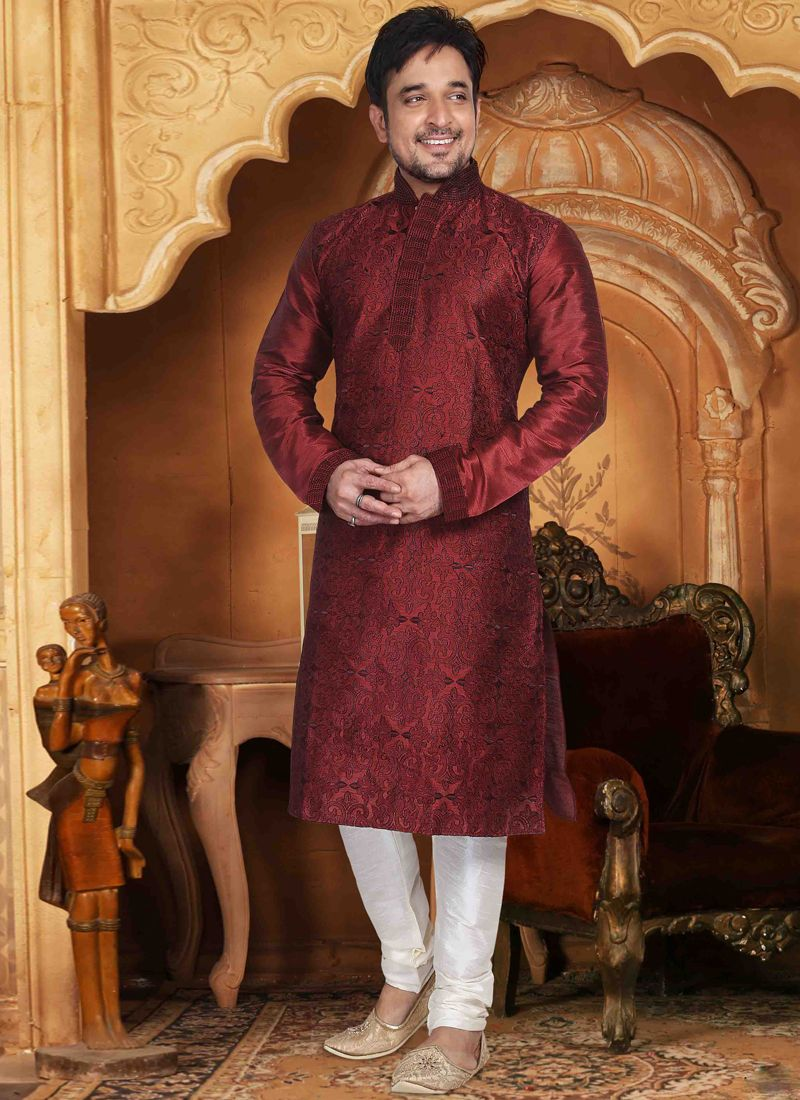 Kurta Pyjama Embroidered Dupion Silk in Maroon