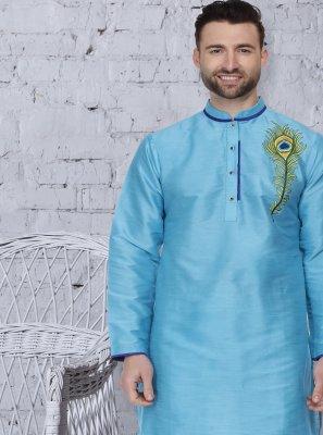 Kurta Pyjama Embroidered Dupion Silk in Turquoise