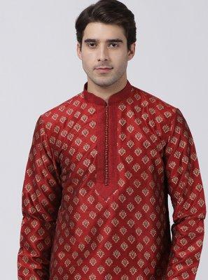 Kurta Pyjama Machine Embroidery  Cotton Silk in Maroon