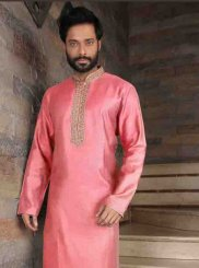 Kurta Pyjama Plain Art Silk in Pink