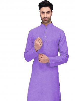 Kurta Pyjama Plain Cotton in Purple