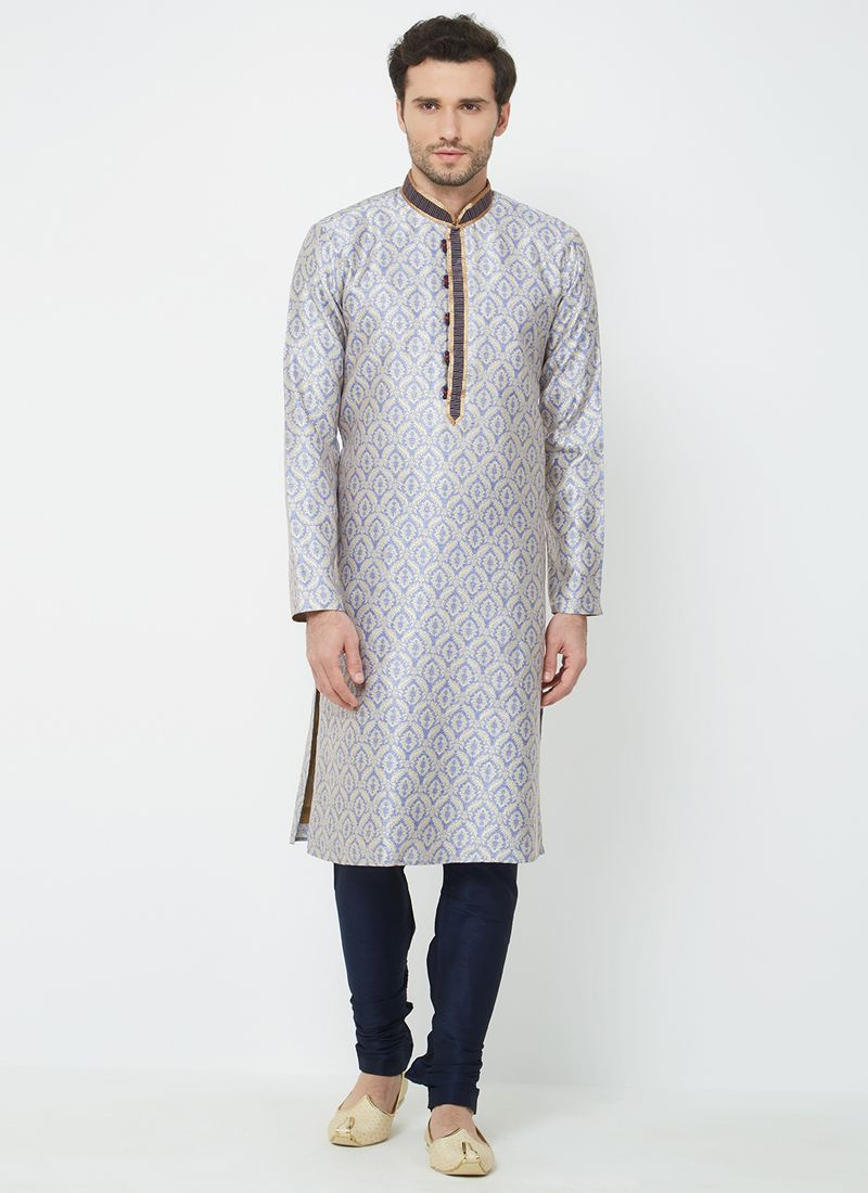 Kurta Pyjama Plain Linen in Purple