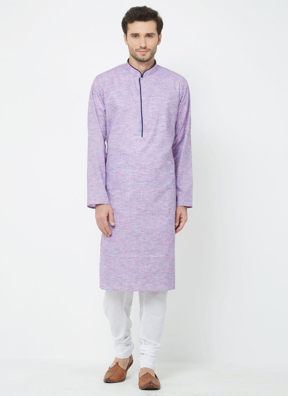 Kurta Pyjama Plain Linen in Purple