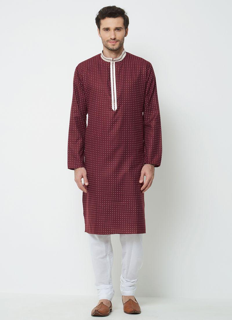 Kurta Pyjama Plain Linen in Wine