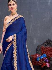 Lace Art Silk Classic Saree in Blue