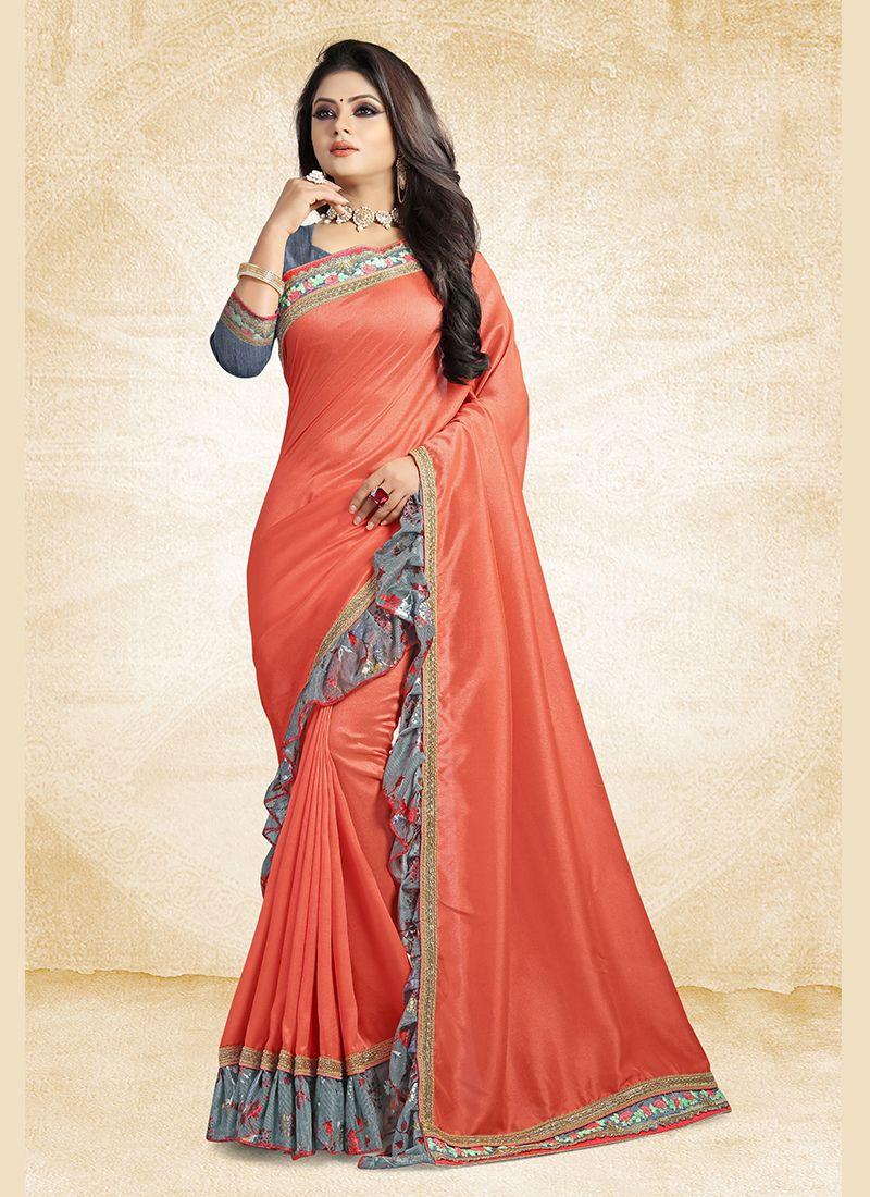 Lace Art Silk Orange Traditional Designer Saree