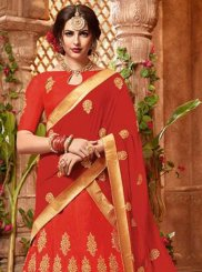 Lace Art Silk Red Lehenga Choli