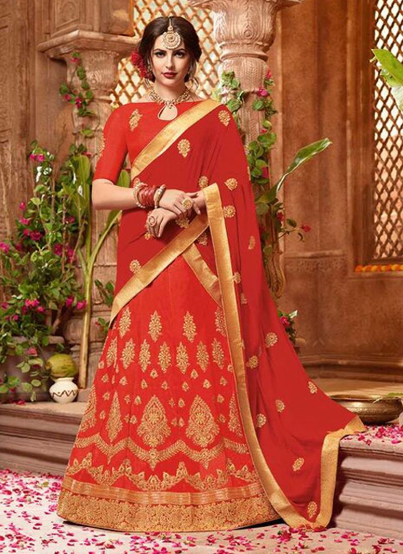 Lace Art Silk Red Lehenga Choli