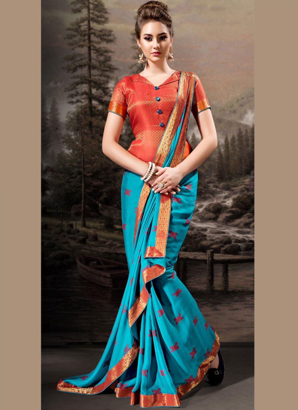 Lace Banglori Silk Traditional Designer Saree in Aqua Blue