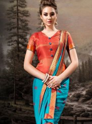 Lace Banglori Silk Traditional Designer Saree in Aqua Blue