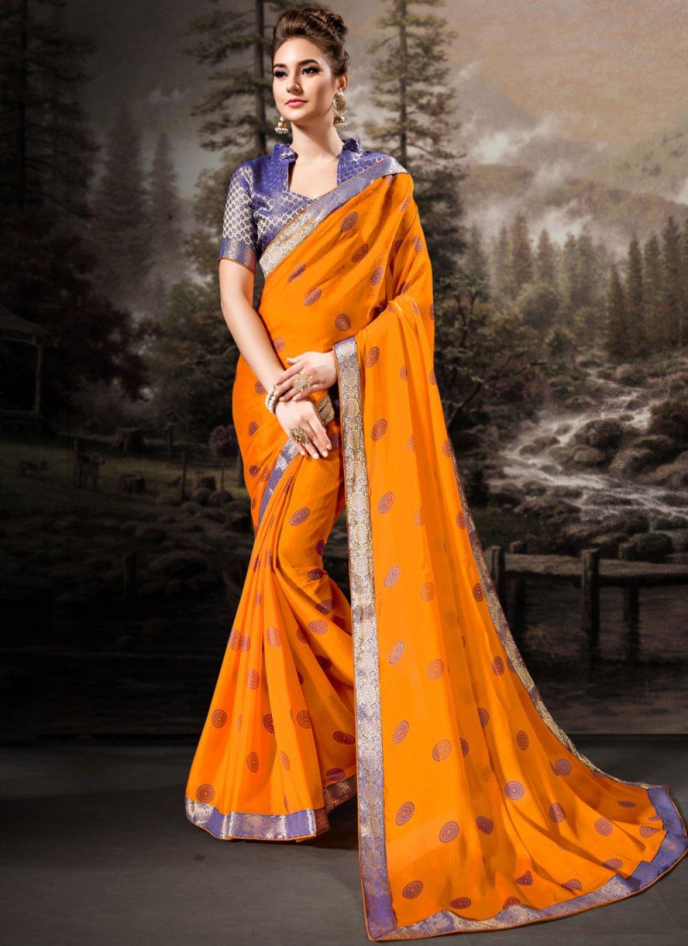 Lace Banglori Silk Traditional Saree in Orange