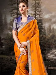 Lace Banglori Silk Traditional Saree in Orange
