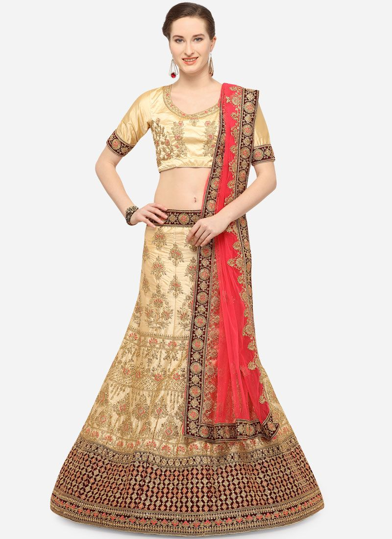 Lace Beige Art Silk Lehenga Choli