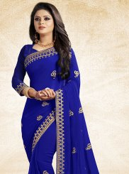Lace Blue Faux Georgette Traditional Saree