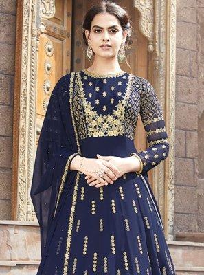 Lace Blue Floor Length Anarkali Suit