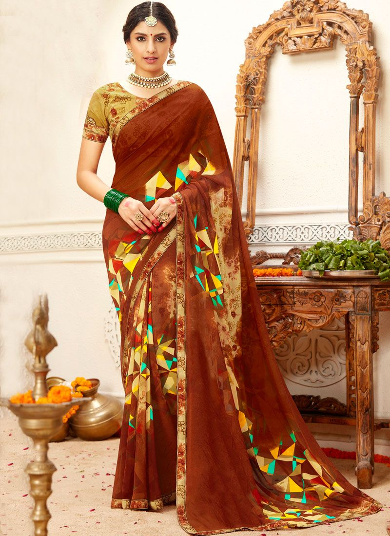 Lace Brown Classic Saree