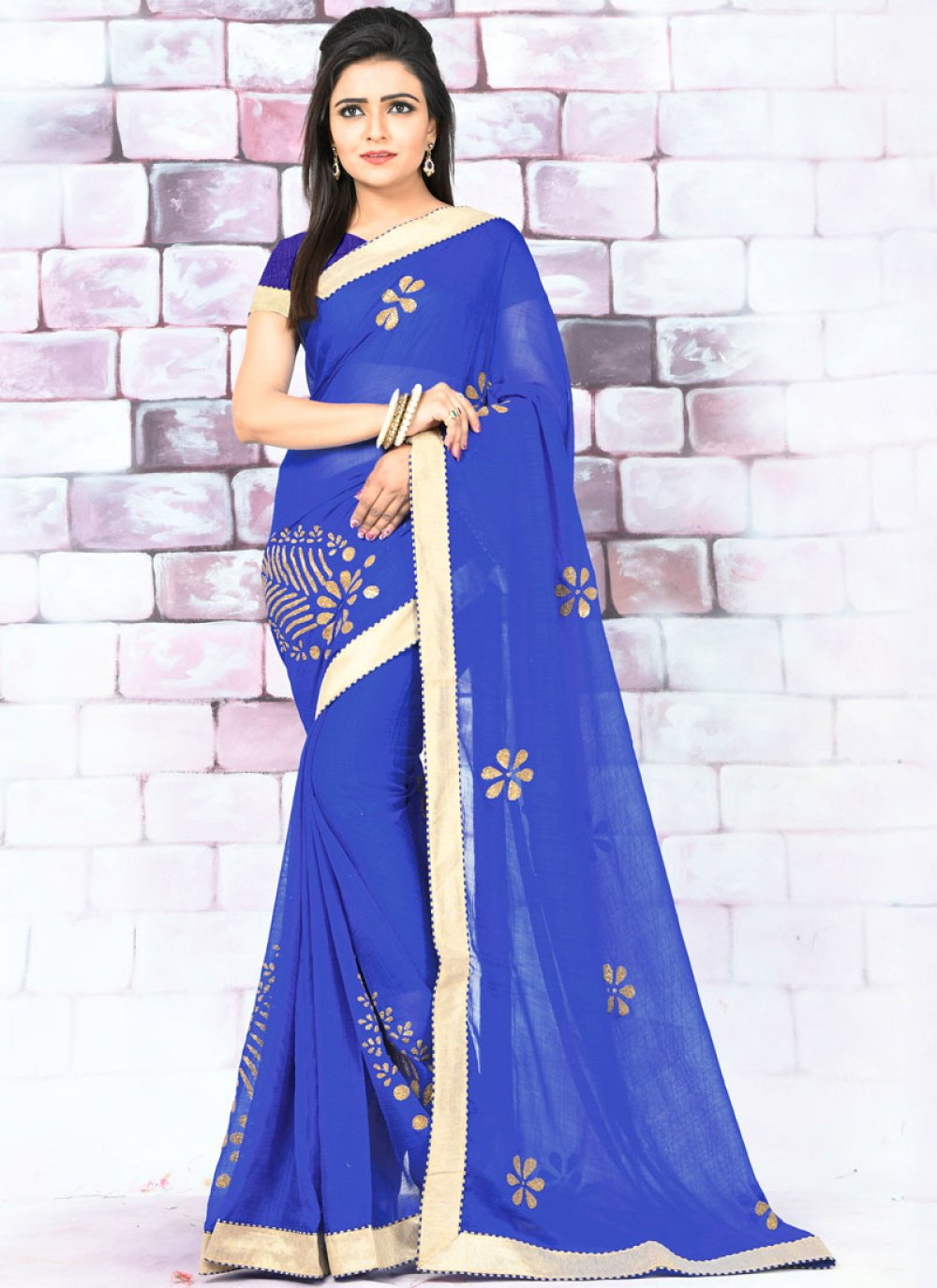 Lace Faux Chiffon Blue Designer Saree