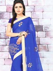 Lace Faux Chiffon Blue Designer Saree