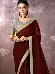 Lace Faux Chiffon Brown Classic Designer Saree