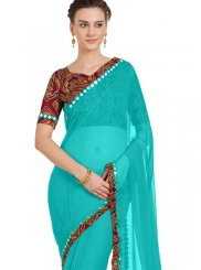 Lace Faux Chiffon Casual Saree in Blue