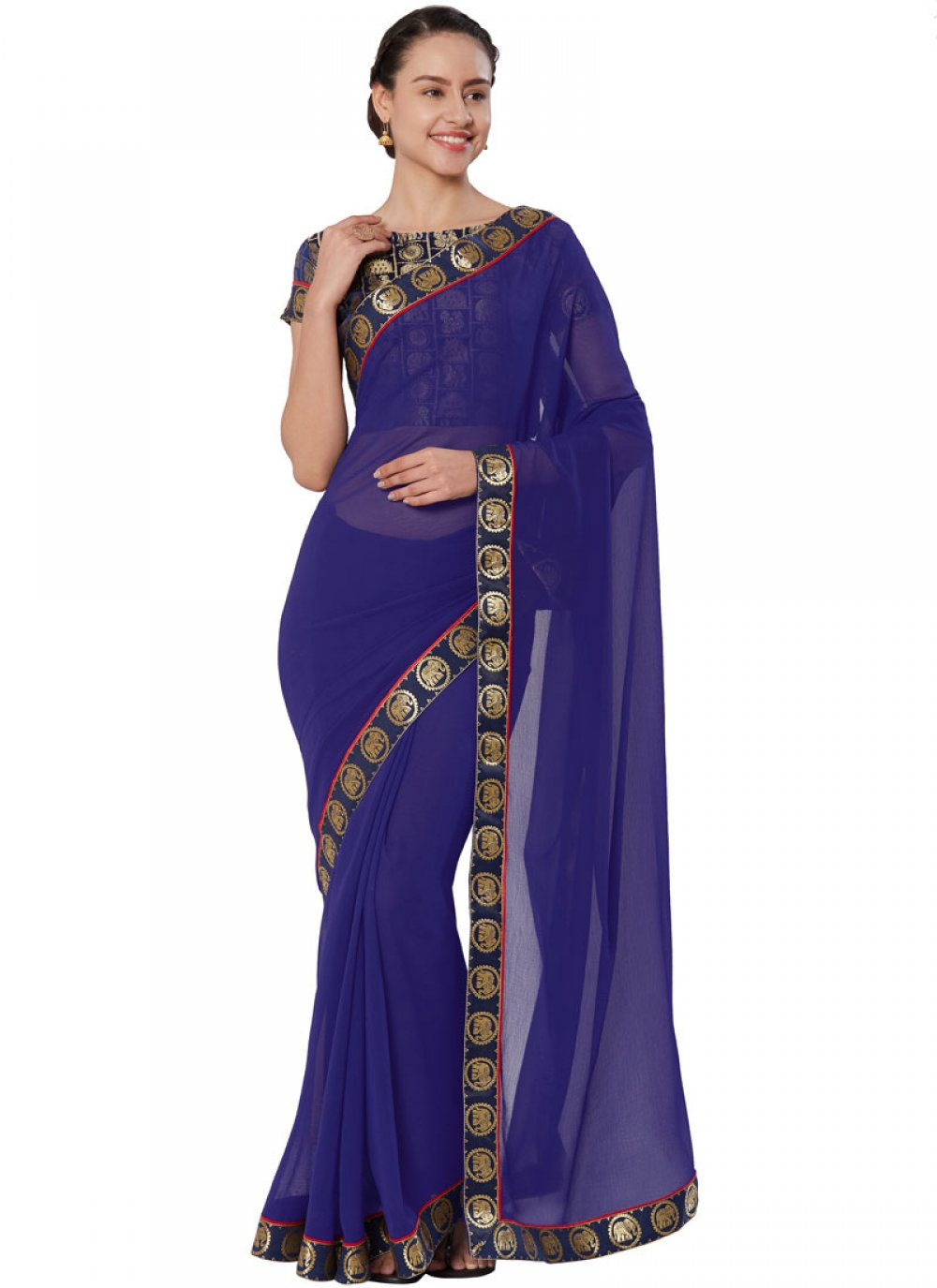 Lace Faux Chiffon Casual Saree in Navy Blue