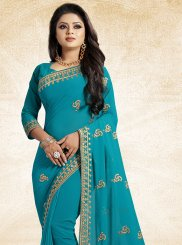Lace Faux Georgette Blue Classic Designer Saree