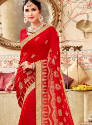 Lace Faux Georgette Saree in Red